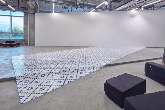 王卫《被压住的自然史4》马赛克瓷砖,白墙 尺寸可变 2019  摄影:张宏