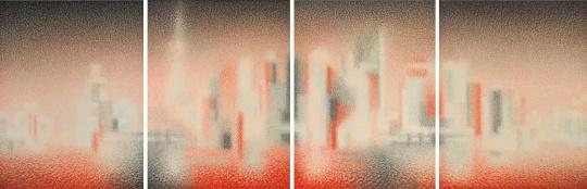 《上海浦东的时空裸体・即(114)》 233.7×173.5cm [四联幅,总长694.0cm] 墨 朱墨 麻纸 2018年