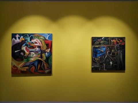 秦琦 《象征物》120×120cm 布面油画 2017-2018 (左)  《夏夜里的蝉》100cm×100cm 布面油画 2017-2018 (右)