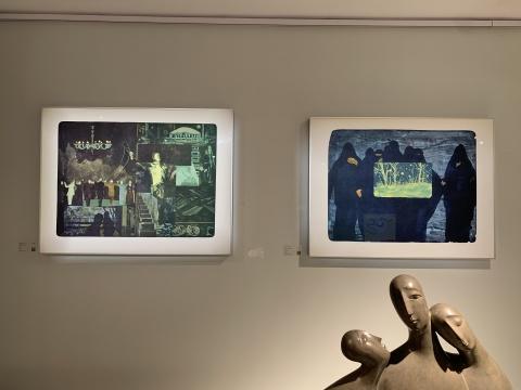 """""""景致内外""""展览现场,寇疆晖石版画作品(标价1.28万元)"""