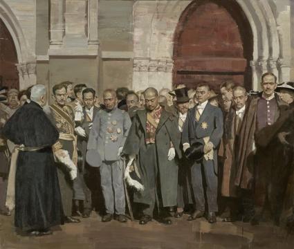 方经纬《1918—红色门前》布面油画 170cm×200cm 2019