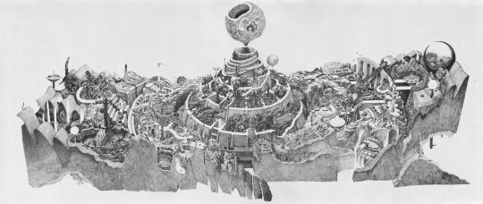 王茅俨《天理图》纸本素描 364cm×152cm 2019
