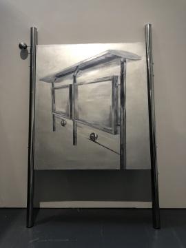 臧坤坤 《容器,应形》 270×172×9cm 丙烯,亚麻布,木,不锈钢 2017