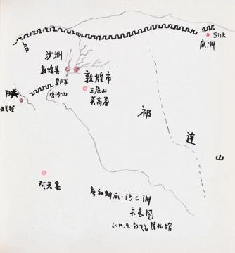 武艺 《唐初期瓜·沙二洲示意图》 21×20cm 纸本铅笔 2019
