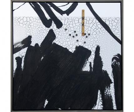 张琪凯 《静观》124×124cm 木板大漆、竹子2018