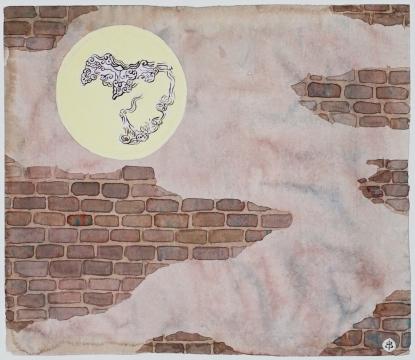 《满月》 宣纸、水彩、水粉