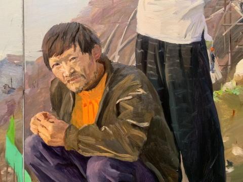 刘小东 )《三峡新移民(四联作)》300×250cm×4布面油画2004  估价待询