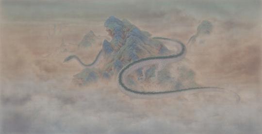 《无人之境.云隐》73×142cm绢本设色2019