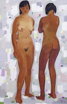 吴冠中 《姐妹》92×60cm布面油画1990 华艺国际2019秋拍拍品 估价:RMB 1600万-2200万元