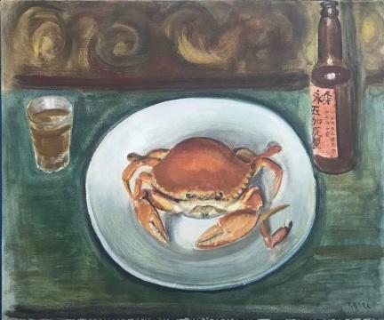 李铁夫 《螃蟹与五加皮》63.3x76.3cm布面油画1940年代 华艺国际2019秋拍拍品 估价:RMB 200-300万