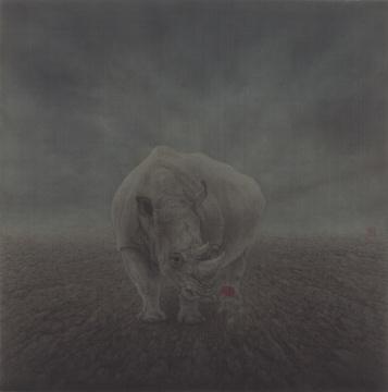 《无人之境.月下》56×56cm绢本设色2018