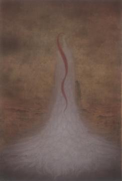 《无人之境.霜灼》75×110cm绢本设色2018