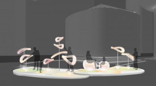 """⾹香港建筑公司AaaM的作品效果图《浮光""""塑""""影》,位于上海海新天地"""