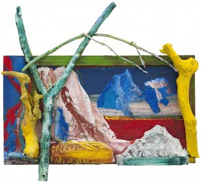 《蓝山》 113×124×23cm 木板油画&木头&玻璃钢 2019