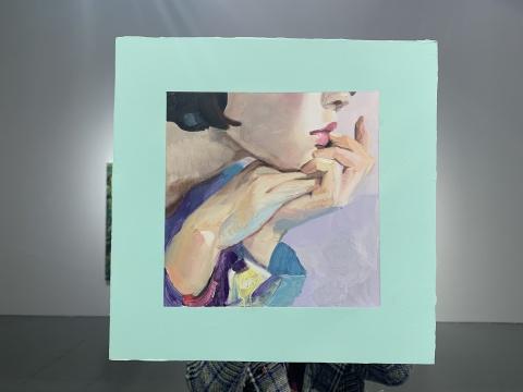 《托下巴肖像4》 30×30cm 木板油画 2019