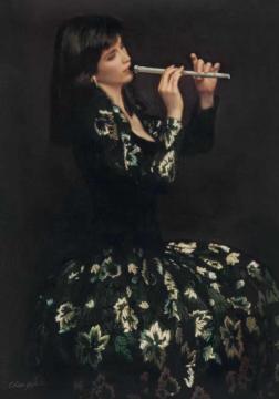 陈逸飞 《箫》 布面油画 107×76.5cm 1988
