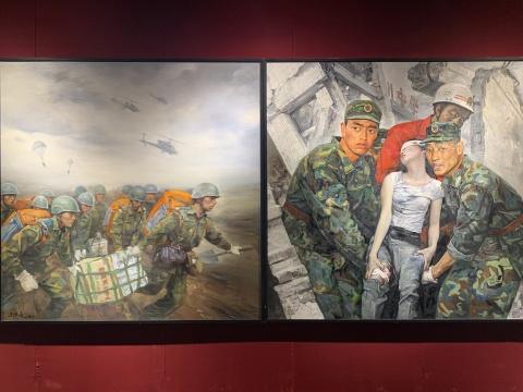 左:刘孔喜、庞茂琨创作;右:王沂东、王少伦创作