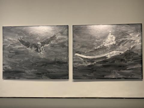 严培明 《鹰·辽宁号航空母舰》 200×250cm×2 布面油画 2014