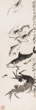 齐白石 《水族群乐》103.2cm×34.3cm 纸本水墨 1947©和美术馆