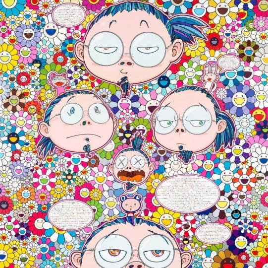 Takashi Murakami, Self-Portrait of the Manifold Worries of a Manifoldly Distressed Artist, 2012, Acrylic on canvas mounted on board, 59×59 inches (150×150cm), © Takashi Murakami/Kaikai Kiki Co., Ltd. All rights reserved. Courtesy Gagosian