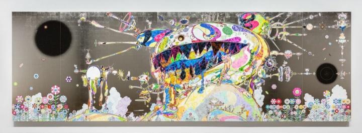 村上隆《无题》240×735cm布面丙烯、金箔、铂金箔,内制铝框2018©2018 Takashi Murakami/Kaikai Kiki Co., Ltd. All Rights Reserved
