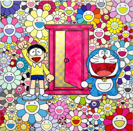 ​Takashi Murakami, We Came to the Field of Flowers Through Anywhere Door (Dokodemo Door)! , 2018 Acrylic on canvas mounted on aluminum frame, 47 1/4 × 47 1/4 inches (120 × 120 cm) © 2018 Takashi Murakami/Kaikai Kiki Co., Ltd. All Rights Reserved. ©Fujiko-Pro. Courtesy Gagosian