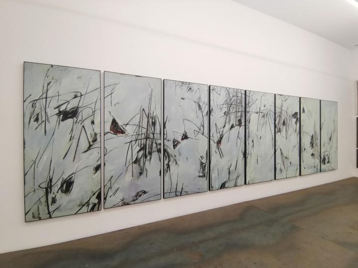 何冰《雪漫荷塘》230×100cm×8 布面油画2003