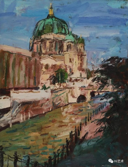 何冰《昔日东柏林》65×50cm 布面油画1995
