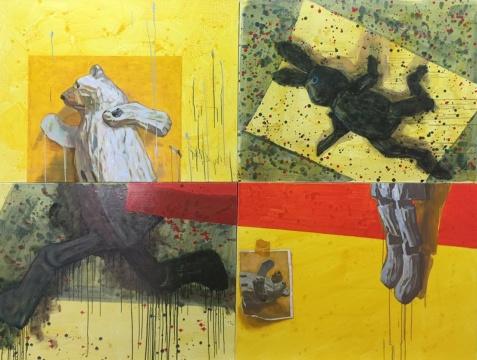 陈曦《游戏-黑兔与白熊》180×240cm 布面丙烯 2015