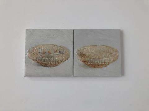 司博文 《烟灰缸》 20×20cm×2 布面油画 2019