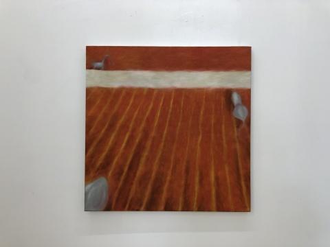 黄冰洁 《白色条纹》 60×60cm 布面油画 2017