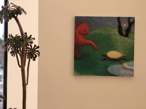 黄冰洁 《红猫》 40×40cm布面油画 2017