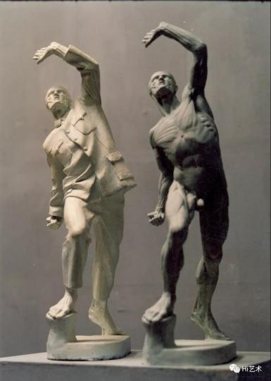 《衣纹研究—持矛者9#》 铸铜着色 ,雕塑f 1998