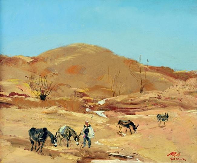 《陕北的冬天》50×60cm 布面油画 2010