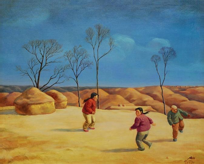 《儿戏》65×80cm 布面油画1999