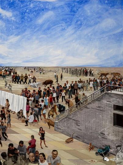 《娱乐广场》200×600cm 布面油画 2019