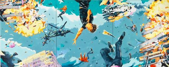 诺尔伯特·比斯基 《三难困境(三联)》300x750cm 布面油画 2017