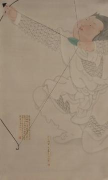 林梓楠 《引弓将军》 120×70cm 绢本水墨 2020
