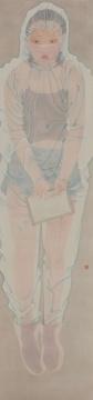 林梓楠 《是个美丽的姑娘》 170×40cm 绢本水墨 2020