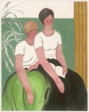 姚浩 《黑裙子&绿裙子》 90×70cm 纸本水墨 2019