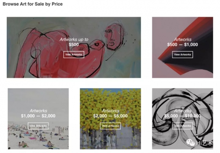 "Saatchi Online网站主页截图,该线上画廊包含6万名艺术家和数十万件艺术作品,艺术品按照形态、风格、价格分别分类,价格区间为几十美元至1万美元。买家下单后,由艺术家直接将自己的作品打包邮寄给买家,网站承诺""7天内退款保证""(7 day money-back guarantee)。"