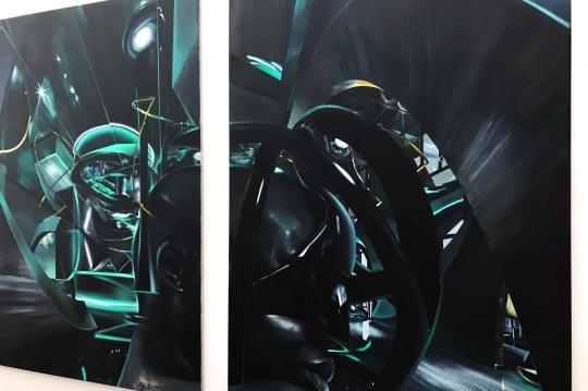 沈正麟《Virtual Sanctuary NO.9》,布面油画,160x230cm X 2P 2019