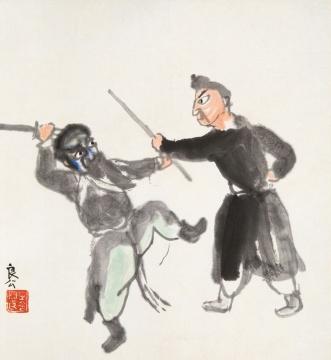 关良(1900-1986)-戏剧人物-纸本镜片-36×33cm
