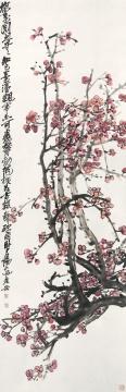 吴昌硕(1844-1927)-梅花争春-纸本立轴-136×44cm