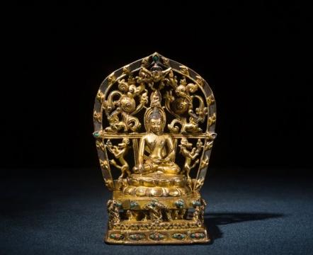 佛教艺术专场_十五世纪_铜鎏金嵌珊瑚松石释迦牟尼佛_高 16.5cm_红铜鎏金嵌珊瑚松石