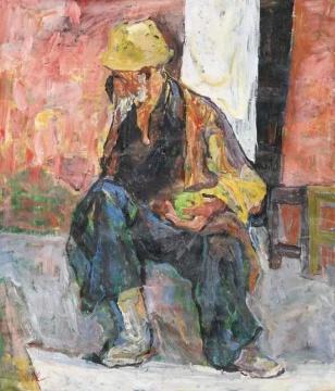 20世纪中国艺术夜场_罗尔纯_晒太阳的老人_2007年作_140×120cm