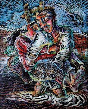 罗中立_过河_2005年_布面油画_200x160cm
