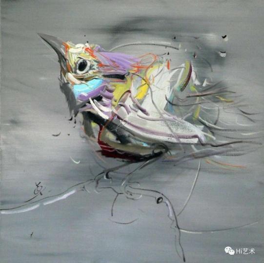 《鸟系列5》 70×70cm布面油画2014