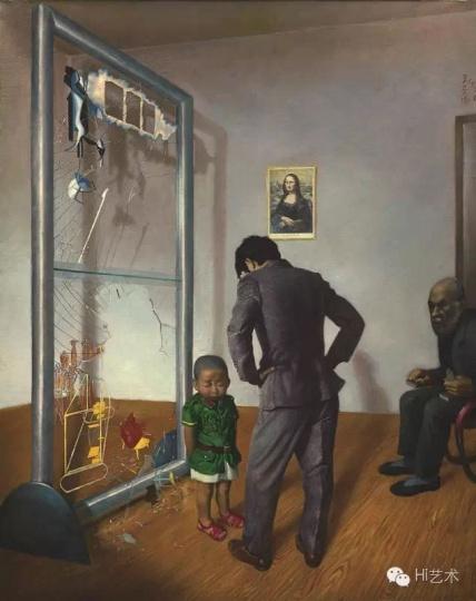 王兴伟 《可怜的老汉密尔顿》 180×180cm 布面油画 1996
