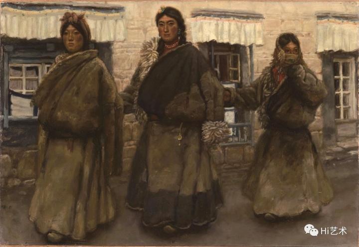 陈丹青《西藏组画-进城(一)》52.5×78.4cm 纸本油画 1980